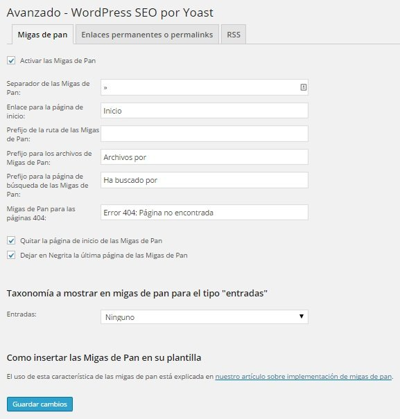 Wordpress SEO Yoast - Migas de pan