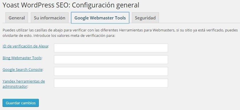 Wordpress SEO Yoast - Google Webmaster Tools
