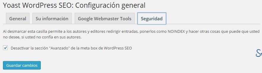 Wordpress SEO Yoast - Seguridad