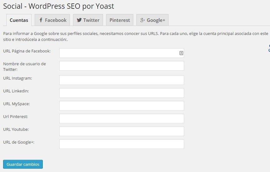 Wordpress SEO Yoast - Social Cuentas