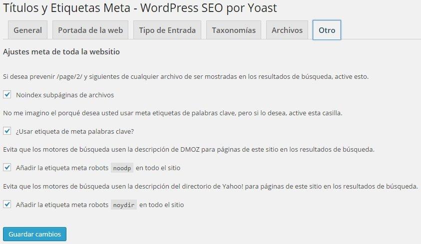Wordpress SEO Yoast - Títulos y Etiquetas Meta Otro