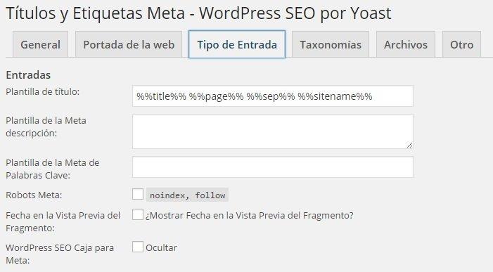 Wordpress SEO Yoast - Títulos y Etiquetas Meta Tipo de Entrada