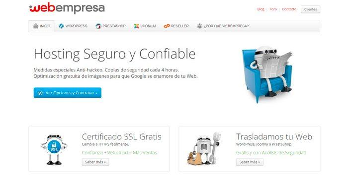 Mejor hosting para wordpress - Opinión Webempresa