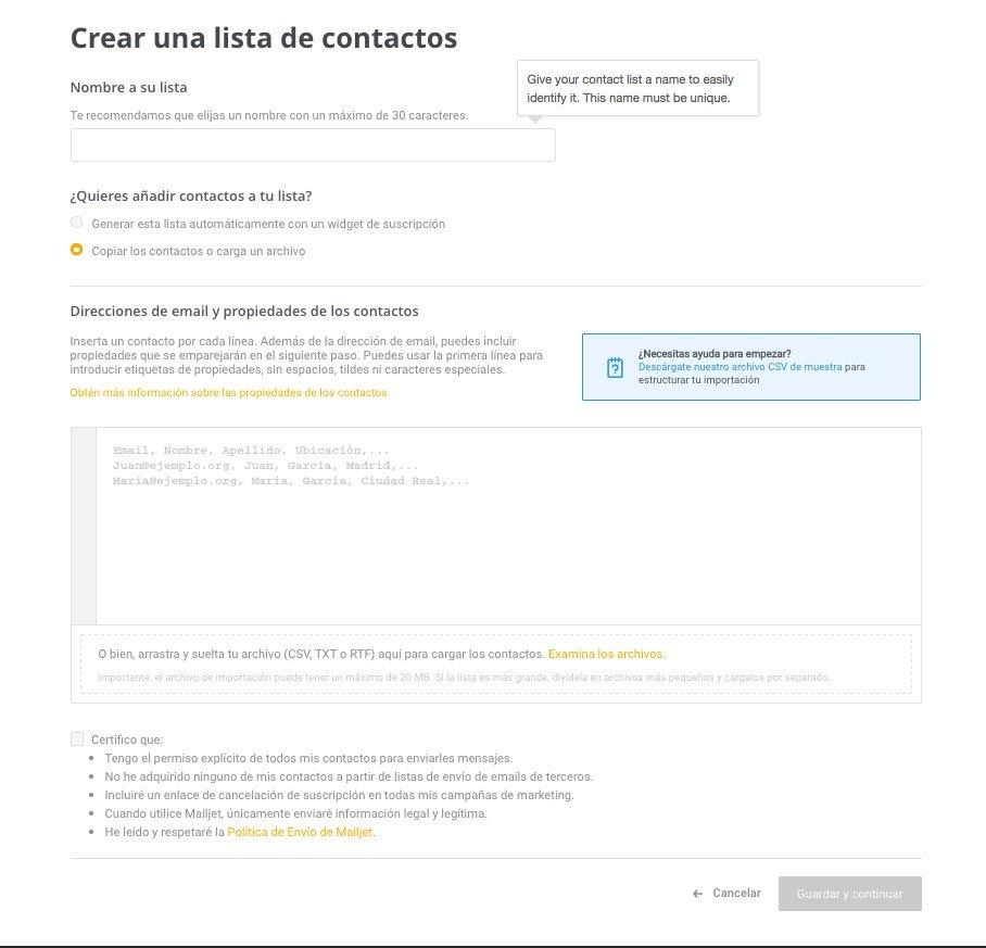 Mailjet - Crear lista de contactos