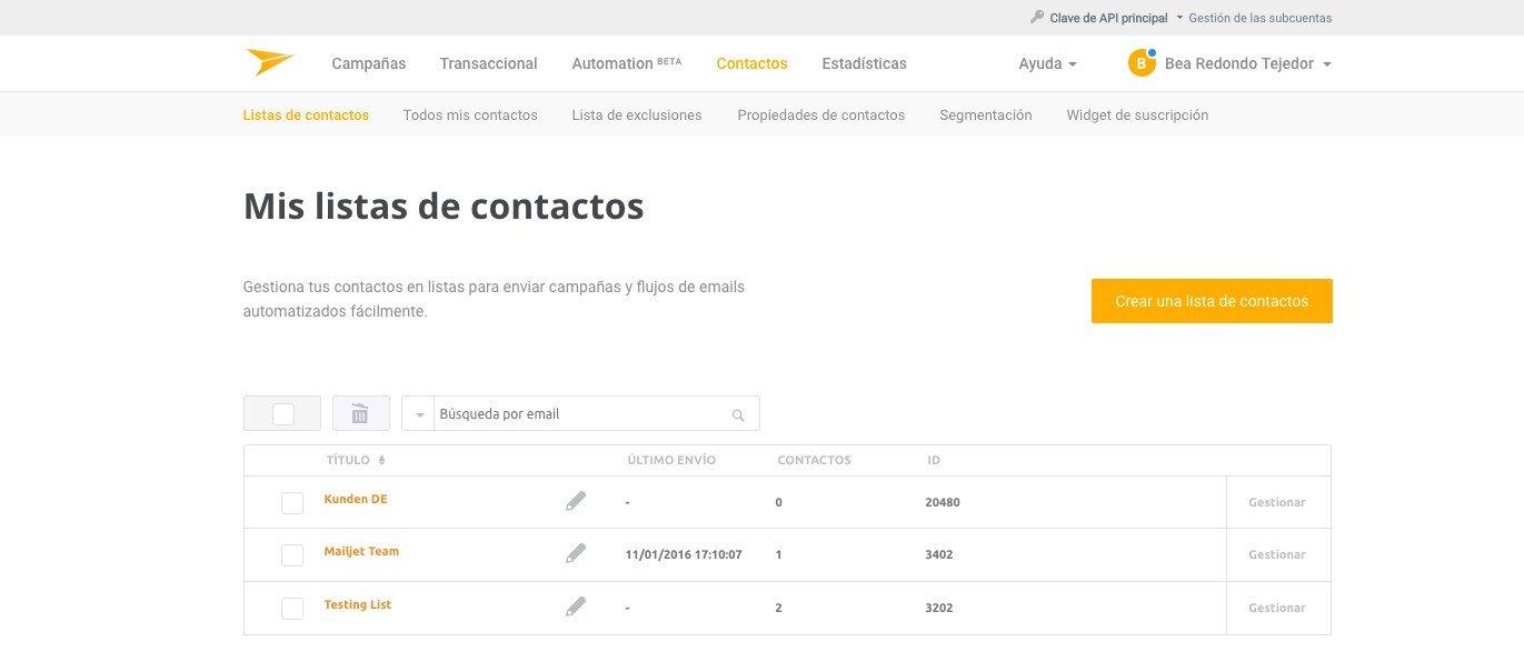 Mailjet - Crear lista de suscriptores