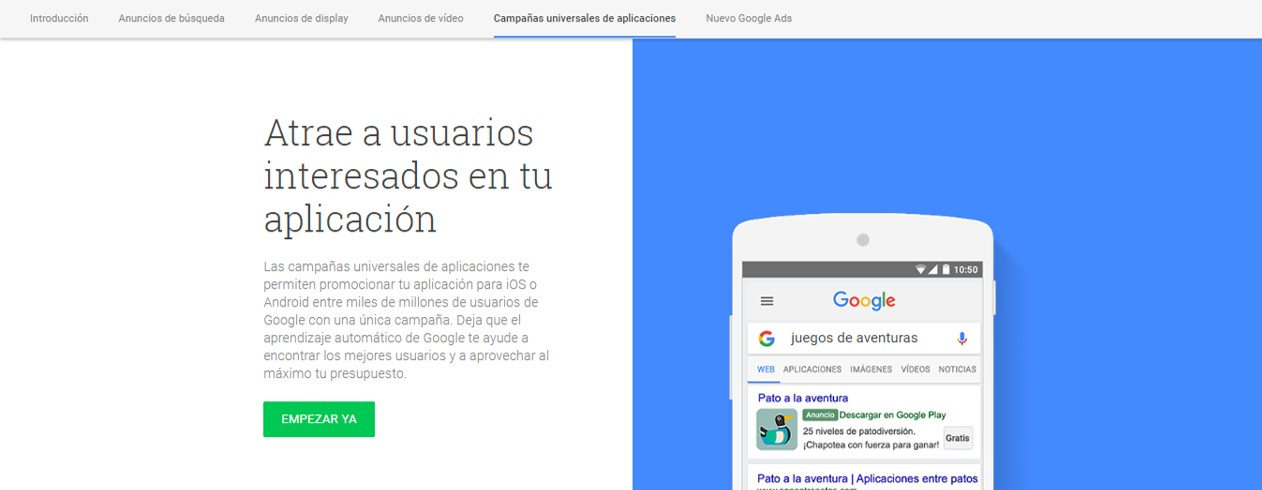Anuncios de aplicaciones - tutorial de Google Adwords Ads