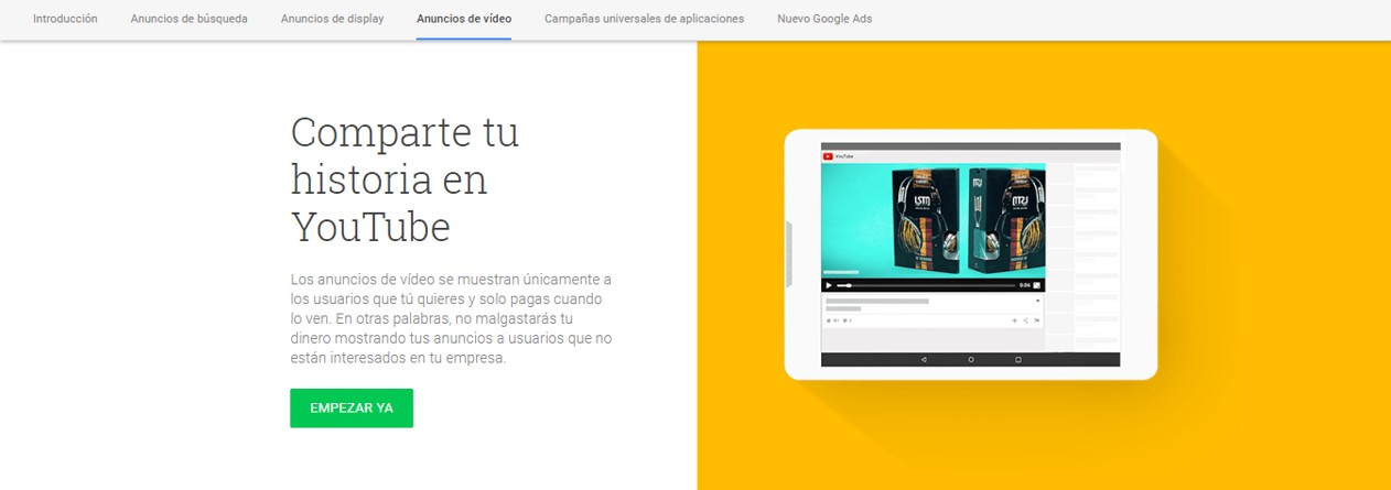 Anuncios de vídeos - tutorial de Google Adwords Ads